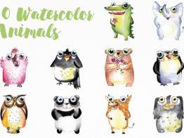Tải các mẫu động vật vector màu nước dễ thương