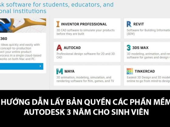 Autodesk cho phép sinh viên sử dụng bản quyền các phần mềm của họ để phục vụ cho mục đích họ tập. Bài viết sau đây sẽ hướng dẫn các bạn cách lấy bản quyền và cài đặt AutoCad bản quyền miễn phí